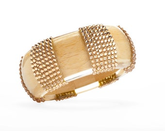 Soft Wooden Bangle With Light Colorado Swarovski Crystals