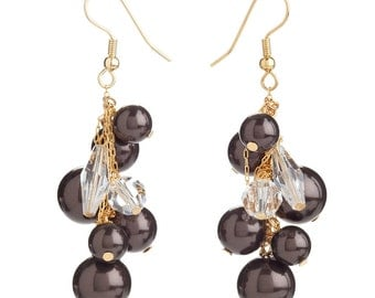 Simple Deep Mocha Pearl & Clear Crystal Beads On Golden Toned Dangle Earrings Outfitted WIth Swarovski Crystals