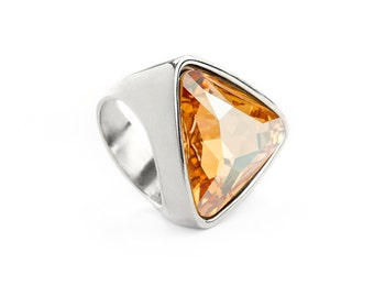 Simple & Elegant Golden Shadow Toned Cocktail Ring With A Large Swarovski Crystal