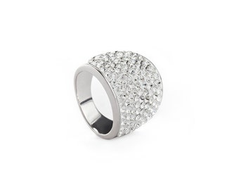 Simple & Understated Real Silver Wide Cocktail Ring Encrusted with Clear Swarovski Crystals