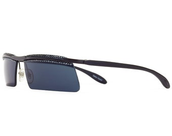 Modern Dark Sport Sunglasses With Hematite Swarovski Crystals