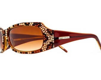 Leopard Series Designer Sunglasses With Brown Gradient Shades And Bronze Style Swarovski Crystals