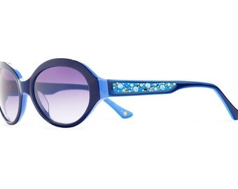 Sea Breeze Temple Arms Designer Sunglasses With Indigo Shades And Sapphire Swarovski Crystals