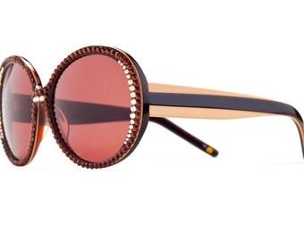 Warm Toned Round Oversized Sunglasses With Brownish Shades And Mocha Swarovski Crystals