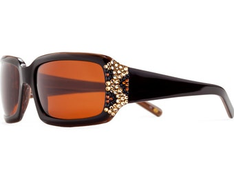 Subtly Crystalized Leopard Series Designer Sunglasses With Brown Shades And Leopard Pattern Swarovski Crystals
