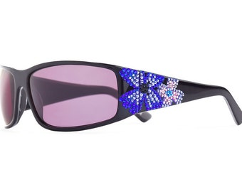 Midnight Bloom Elegant Sunglasses Encrusted With Swarovski Crystals