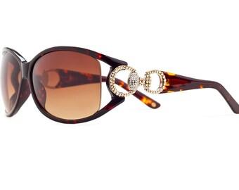 Unique & Elegant Golden Shadow Oversized Sunglasses Encrusted With Swarovski Crystals