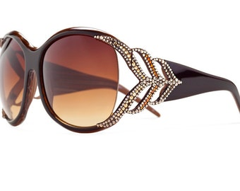 Chic Earth Fern Oversized Sunglasses Encrusted With Swarovski Crystals