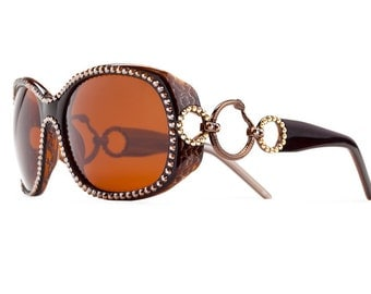 Smoked Topaz Link Oversized Sunglasses Encrusted With Swarovski Crystals