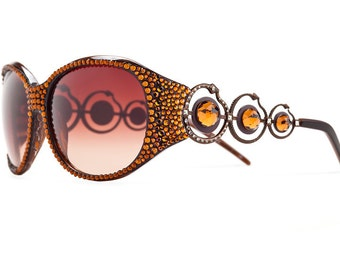 Hot Sun Spot Oversized Designer Sunglasses With Brownish Shades And Warm Toned Swarovski Crystals