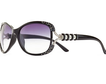 Marbleizing Divisional Designer Sunglasses With Indigo Shades And Black Diamond Swarovski Crystals