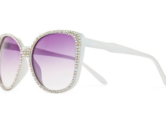 Purity Saint Superstar Designer Sunglasses With Purple Gradient Shades And Blissful Styled Swarovski Crystals