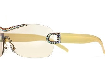 Creamy White Unibrow Cyclops Designer Sunglasses With Yellowish Gradient Shades And Aurore Boreale Swarovski Crystals