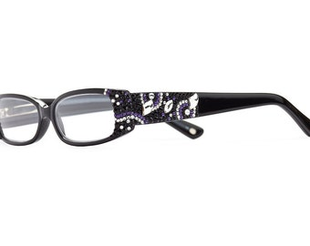 Cosmo Series Horn-Rimmed Reading Glasses With Purple Velvet Swarovski Crystals