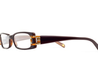 Hot Topaz Horn Rimmed Reading Glasses With Warm Toned Swarovski Crystals