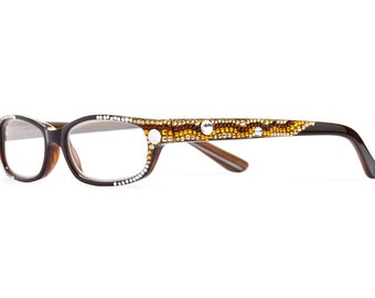 Mingle Series Designer Reading Glasses With Clear Spotted Swarovski Crystals