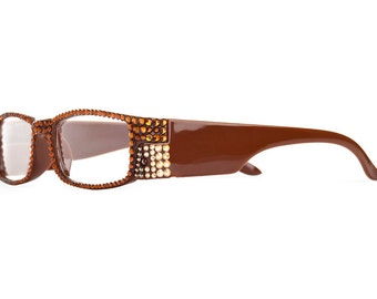 Cleveland Brown Full Framed Reading Glasses Imbued With Assorted Swarovski Crystals