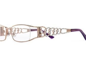 Copper Vines Designer Exposed Lens Elegant Reading Glasses Encrusted WIth Swarovski Crystals