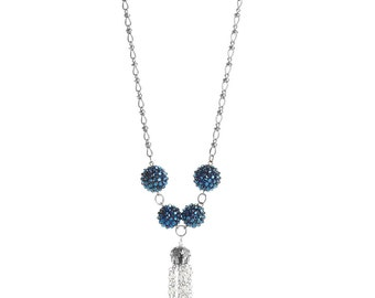 Silver & Turquoise Evening Wear Necklace Encrusted With Swarovski Crystals