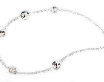 String of Silver Lights Necklace -- Encrusted Using Swarovski Crystals