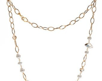 Petite Pearl and Swarovski Crystal Gold Necklace