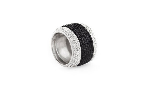 Elegant Silver & Jet Crystal Wide Band Cocktail Ring Fully Encrusted With Swarovski Crystals