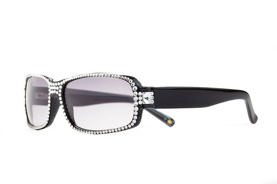 Two Toned Saturation Designer Sunglasses With Light Shades And Clear Swarovski Crystals