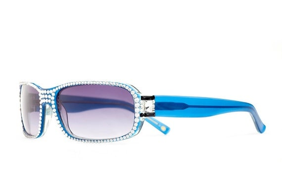 Cerulean Toned Designer Sunglasses With Purple Shades And Clear Swarovski Crystals