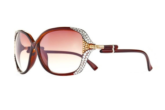 Luminance Bright Designer Sunglasses With Brownish Shades And Clear Swarovski Crystals