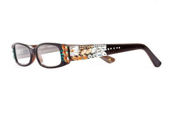 Turquoise Exotic Frag Series Horn-Rimmed Reading Glasses With Assorted Swarovski Crystals