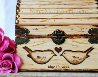 Personalized Rustic Love Letter Treasure Chest,  Wedding Card Box, Love Bird Box, Treasure Chest Keepsake Box