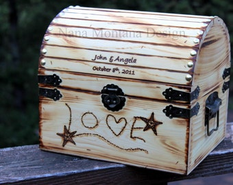 Wedding Card Keepsake Box, Personalized Rustic Starfish Love in Sand, Treasure Chest, Aqua, Teal finish