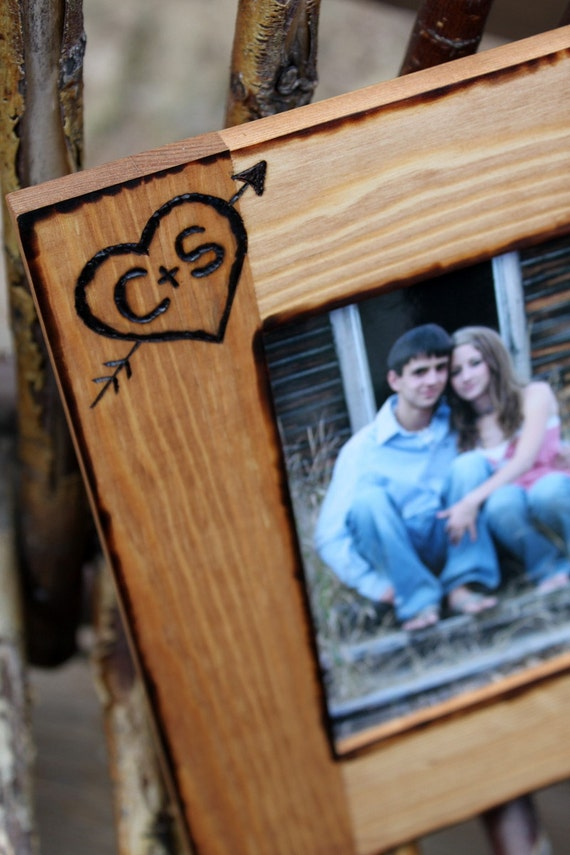 Engraved Wooden Wedding Photo Frames : Personalized Rustic Wood Picture Frame Engraved Heart & up