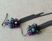 Turquoise, Fuchsia, Purple Long Dangle Earrings with Elegant Swarovski Crystal Cluster and Gunmetal Chain