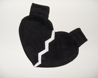 Lovers Mitten Broken Heart Shaped Mitten Snuggle down for warm romantic walks