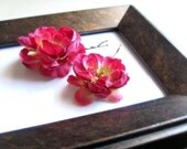 Last One- Fuschia Pink and Apple Green Silk Flower Hair Pins- set of 2