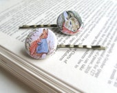 The Tale of Peter Rabbit Hair Pins. Beatrix Potter - set of 2.  Button Collection