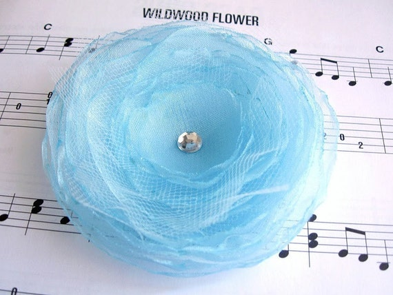 Sky Blue Organza Tulle Flower Brooch Pin Hair Accessory