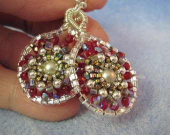paisley drop beaded earrings with pearl center