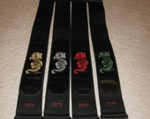 Nylon / leather guitar strap with dragon embroidery