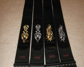 Nylon / Leather guitar strap with tribal embroidery