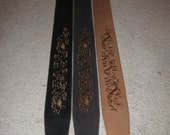 Leather guitar strap, Celtic Dragon embroidery
