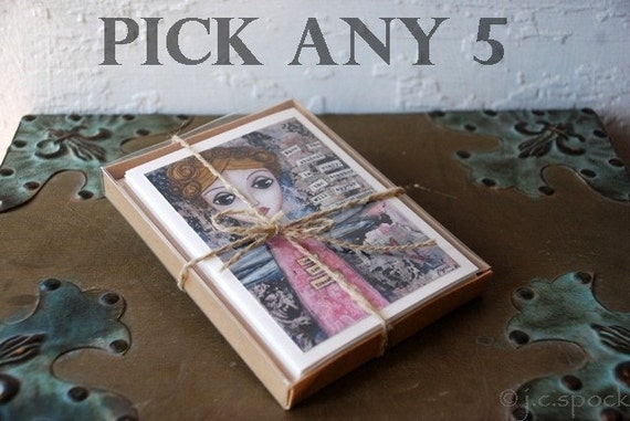 Pick any 5 Note Cards - Whimsical Mixed Media Art - ecofriendly