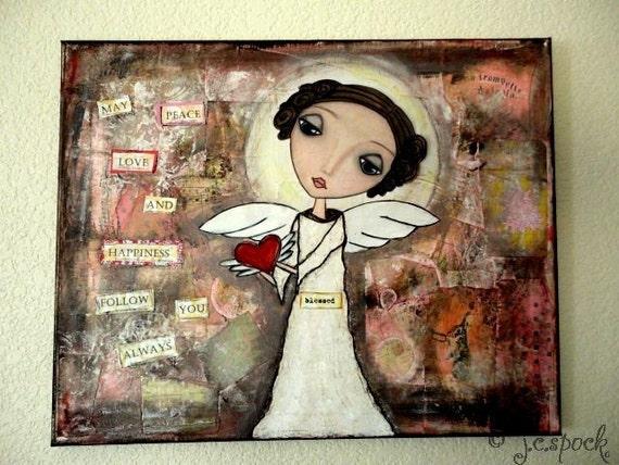 Original Art Painting: Blessed Angel - 16x20 Original Mixed Media Art, Folk Art Painting, Whimsical Art, Angel Art, Heart