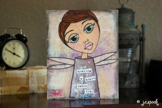 Original Art Painting: 8x10 Healing Girl Original Mixed Media Art, Folk Art Painting, Whimsical Art, Whimsical Girl, OOAK, purple