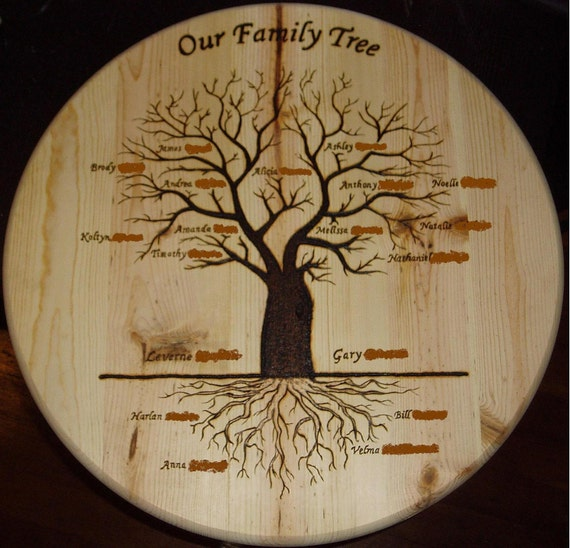 Items similar to Wood burned Family Tree - Great family gift on Etsy