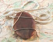 Chert and Quartz Wire Wrapped Pendant Necklace