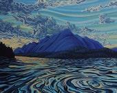 Sunset, Lake Koocanusa, 11X14, Art Print, Ready to Frame