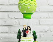 Air balloon custom wedding cake topper Gift Decoration - Let us fly to the Utopia in hot air balloon