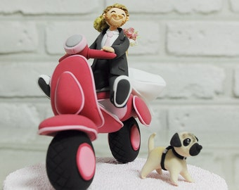 Custom Wedding Cake Topper -Couple on Vespa-